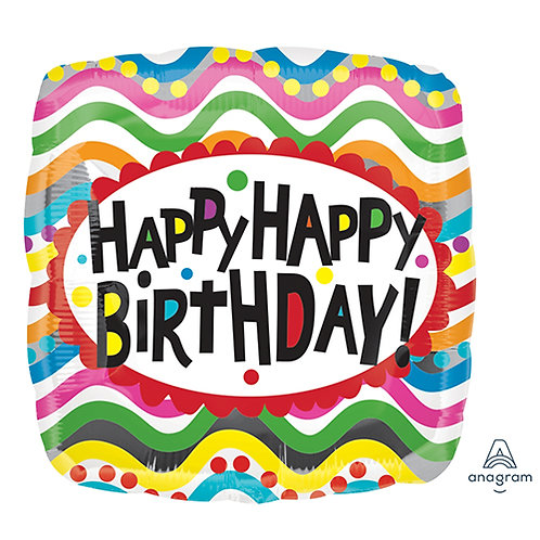 "18"" Square Shape & Zigzag Stripes HBD Helium Balloon - hb08"