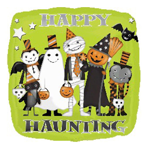 "18"" Square Shape Happy Haunting Halloween Party Helium Balloon - hw18"