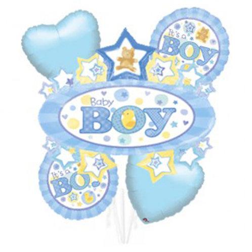 Baby Boy Theme with Baby Boy Badge Helium Balloon Bouquet - bq20