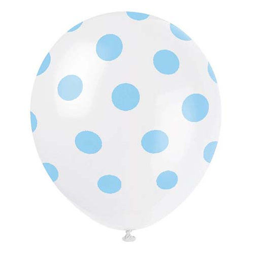 """11"""" White with Light Blue Polka Dots Pattern Latex Balloon"""