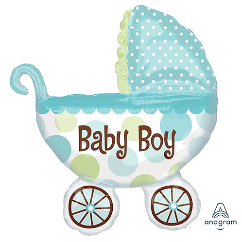 "30"" Baby Boy Baby Carriage Helium Balloon - bb54"