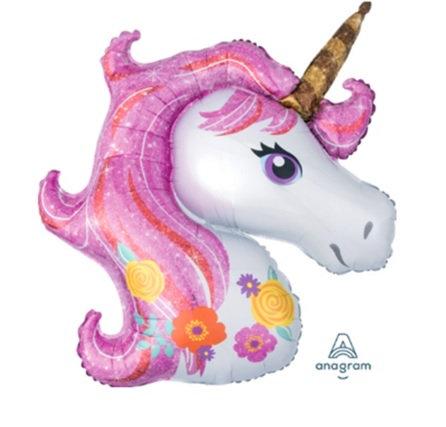"""30"""" Pink Colour Hair Unicorn Head Helium Balloon - z51"""