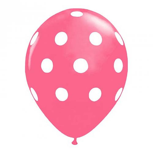 """11"""" Rose with White Polka Dots Pattern Latex Balloon"""