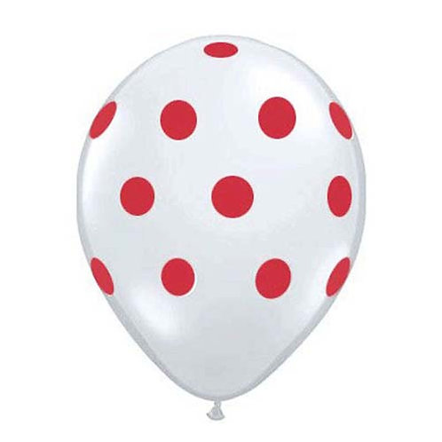 """11"""" White with Red Polka Dots Pattern Latex Balloon"""