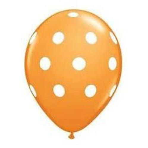 "11"" Orange with White Polka Dots Pattern Latex Balloon"