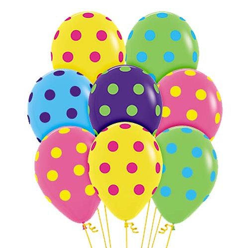 """11"""" Mix Colour with Colourful Polka Dots Pattern Latex Balloon"""