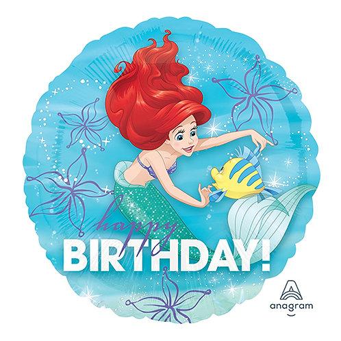 "18"" Princess Ariel Dancing with Flounder HBD Helium Balloon - ps17"