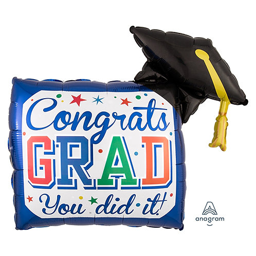 "40"" Square Shape Congrats GRAD & Graduation Hat Helium Balloon - e03"