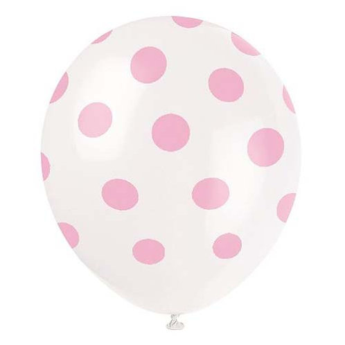 "11"" White with Pink Polka Dots Pattern Latex Balloon"