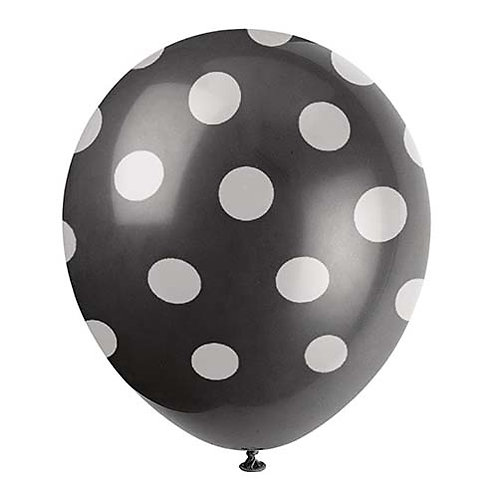 "11"" Black with White Polka Dots Pattern Latex Balloon"