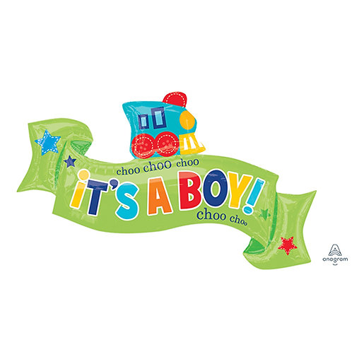 "30"" Baby Boy Choo Choo Train Helium Balloon - bb50"