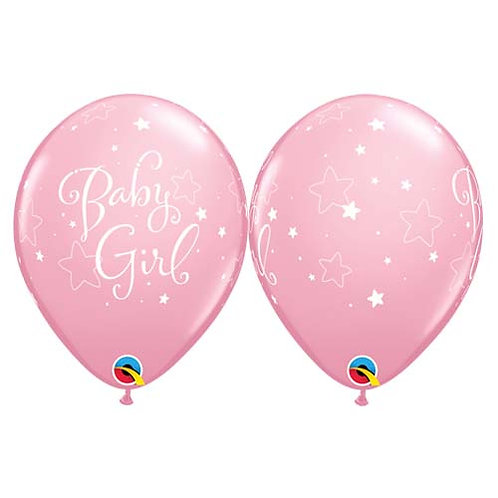 "11"" Pink Baby Girl Pattern Latex Balloon"