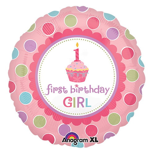 "18"" Pink Cupcake Girl 1st Birthday Helium Balloon - f36"