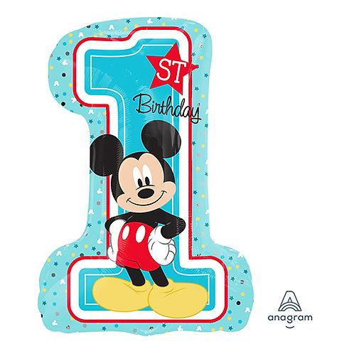 """28"""" Mickey Mouse 1st Birthday Helium Balloon - f20"""