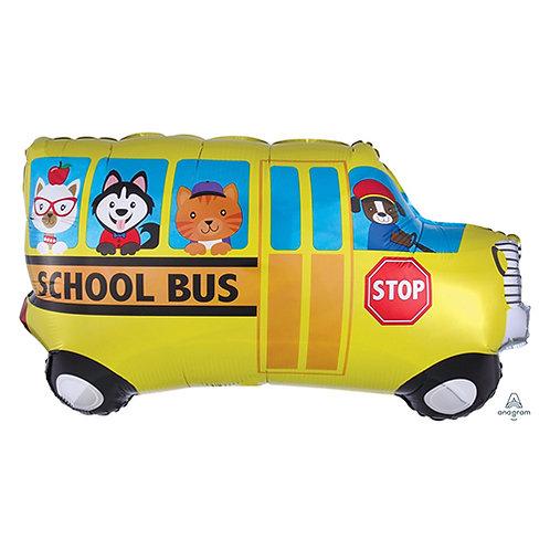 "40"" Yellow School Bus & Animals Helium Balloon -y101"