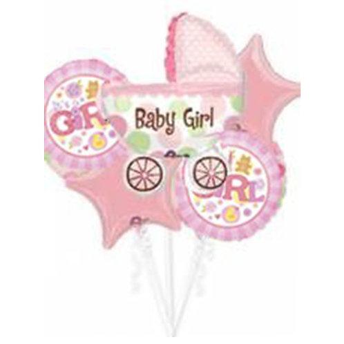 Baby Girl Theme with Baby Cart Helium Balloon Bouquet - bq08