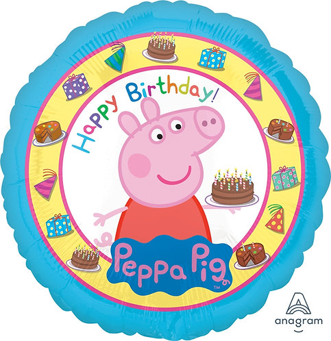 """18"""" Peppa Pig with Birthday Cakes HBD Helium Balloon - y08"""