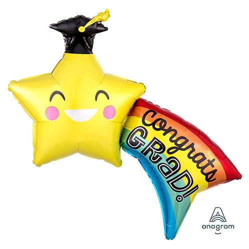 "40"" Rainbow & Star Congrats GRAD Helium Balloon - e17"