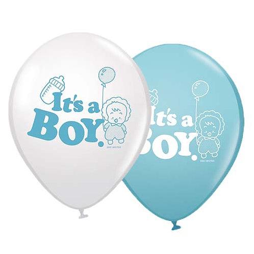 "11"" Light Blue Its a Boy Pattern Latex Balloon"