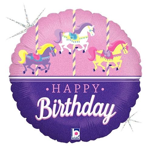 """18"""" Merry Go Round HBD Helium Balloon - hb68"""
