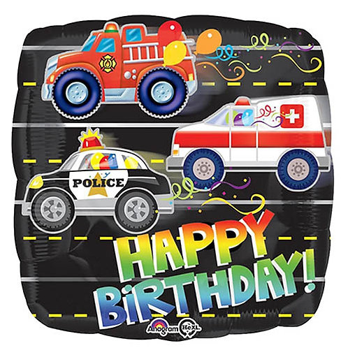 """18"""" Square Shape Fire Truck & Police Car & Ambulance HBD Helium Balloon - hb37"""