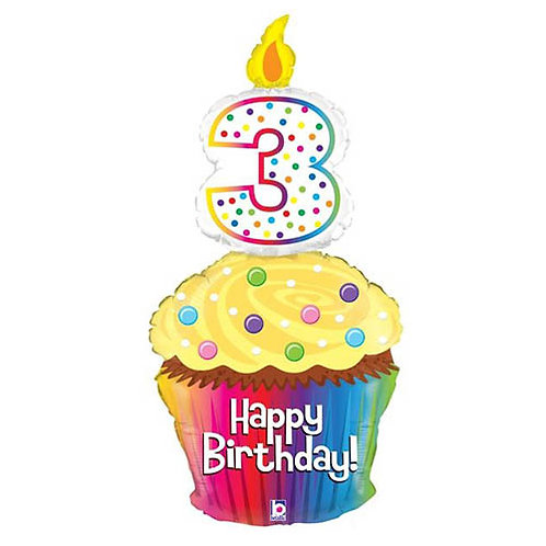 "40"" 3rd Rainbow Birthday Cake HBD Helium Balloon - num15"