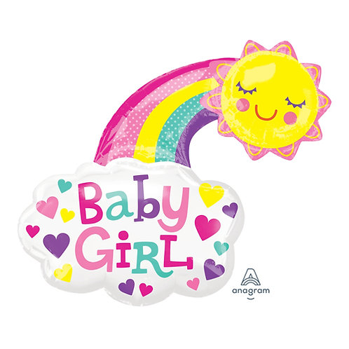 "30"" Baby Girl Sunshine & Rainbow Helium Balloon - bb67"
