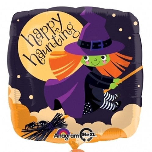 """18"""" Square Shape Witch Flying Happy Halloween Helium Balloon - hw10"""