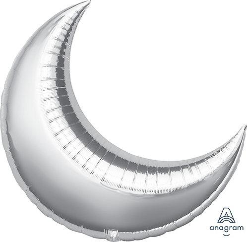 "35"" Crescent Shape Helium Balloon - Silver"