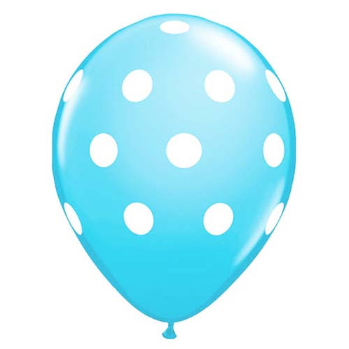 """11"""" Light Blue with White Polka Dots Pattern Latex Balloon"""