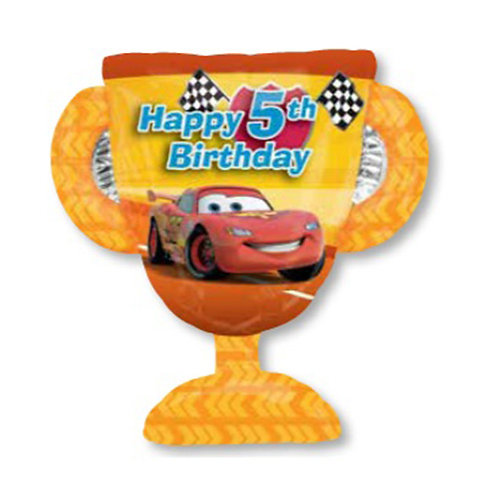 "30"" McQueen Trophy 5th HBD Helium Balloon - c04"