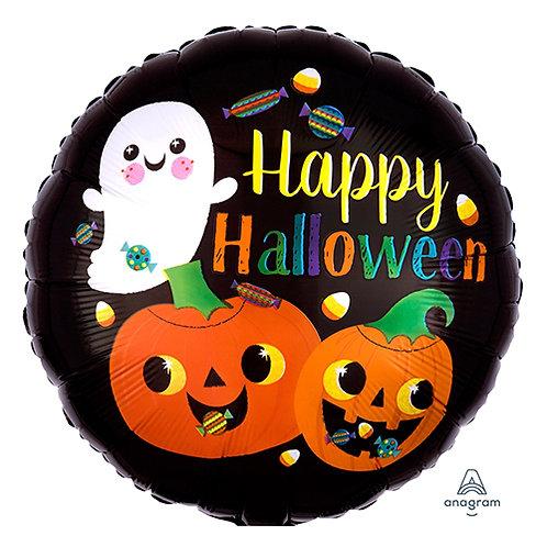 """18"""" Ghost & Pumpkins Happy Halloween Helium Balloon - hw21"""