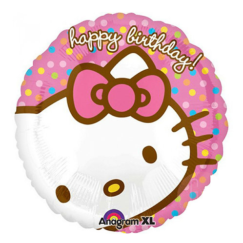 "18""  Dots Pattern Hello Kitty Head HBD Helium Balloon - k11"