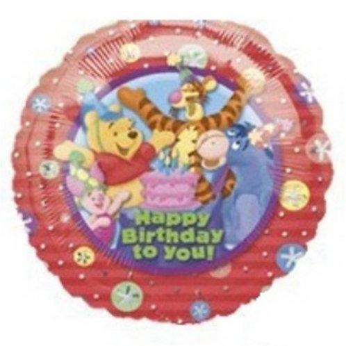 "18"" Winnie the Pooh & Friends Red Colour HBD Helium Balloon - w01"