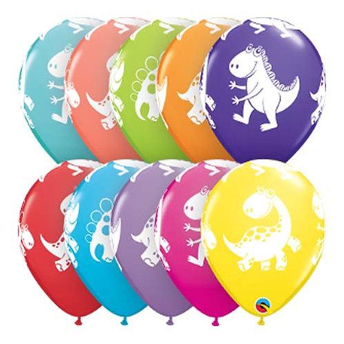 """11"""" Cute Dinosaurs Pattern Latex Balloon - 1pc Random Colour"""