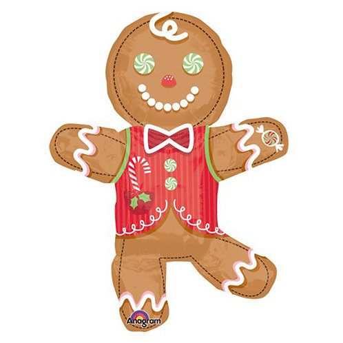 "30"" Christmas Gingerbread Man Helium Balloon - x13"