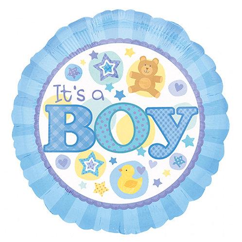 "18"" Baby Boy Bear & Duck Helium Balloon - bb10"
