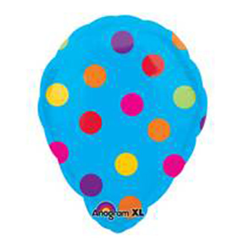 "18"" Dot Pattern Blue Hotair Balloon Shape Helium Balloon - y47"