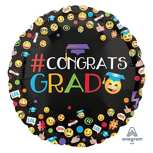 """18"""" Hastag Congrats GRAD Helium Balloon - e07"""