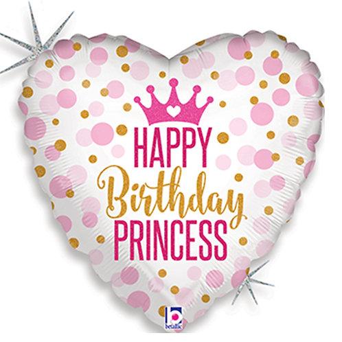 "18"" Gold & Pink Dots Pattern Princess HBD Helium Balloon - hb67"