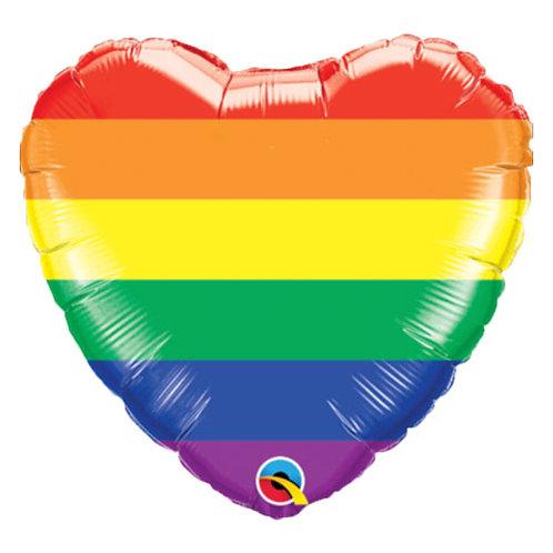 """18"""" Rainbow Colour Heart Helium Balloon - y129"""