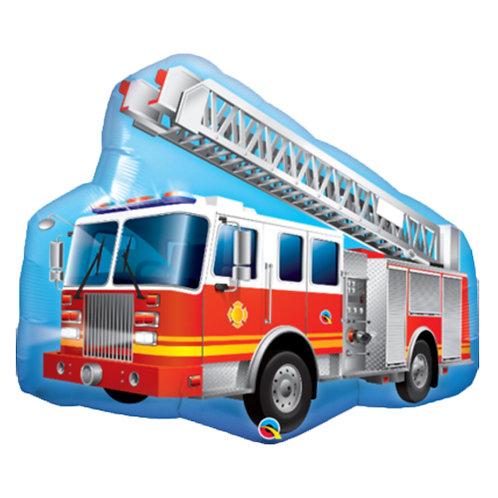 "40"" Fire Truck Blue Background Helium Balloon - y115"