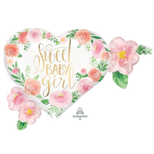 "30"" Sweet Baby Girl Rose Garden Helium Balloon - bb65"