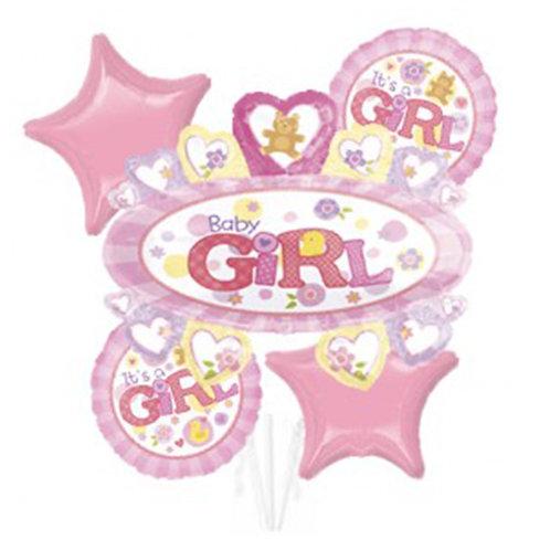 Baby Girl Theme with Baby Girl Badge Helium Balloon Bouquet - bq19