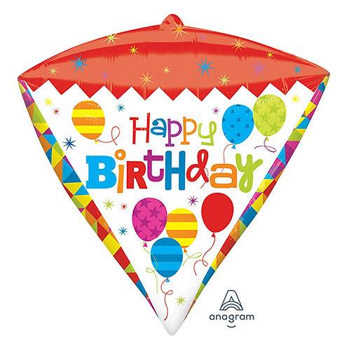 "17"" Geometric Birthday Diamond Helium Balloon - hb82"