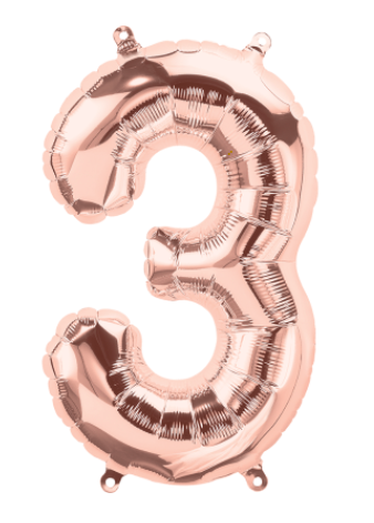 "16"" Rose Gold Number Balloon 3 - 16RG3"