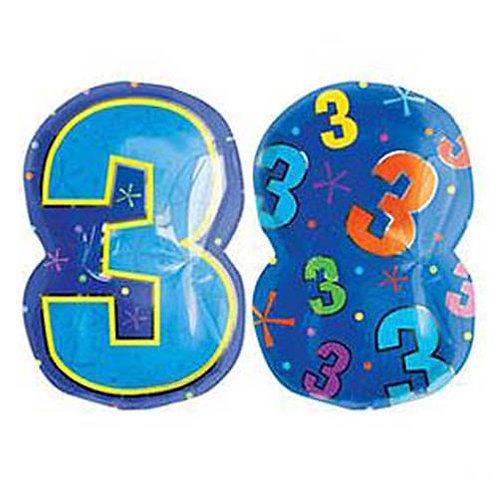 "30"" Blue Number 3 Helium Balloon - num23"