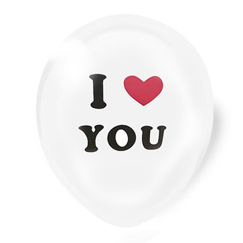 "11"" White with I Love You Pattern Latex Balloon"