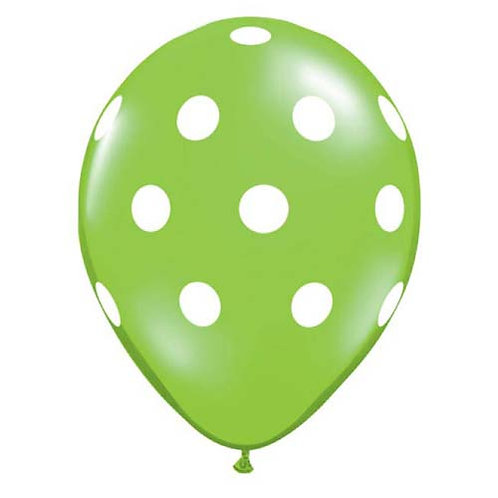 "11"" Lime Green with White Polka Dots Pattern Latex Balloon"