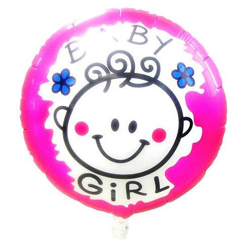 "18"" Baby Girl Happy Face Helium Balloon - bb08"